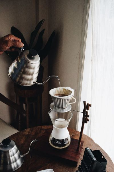 Pour over coffee Filmphotography Camera Cafe Hand Drip Coffee Wood Tabletop Craft Coffee Coffee Slow Bar Coffee Black Coffee Lifestyles