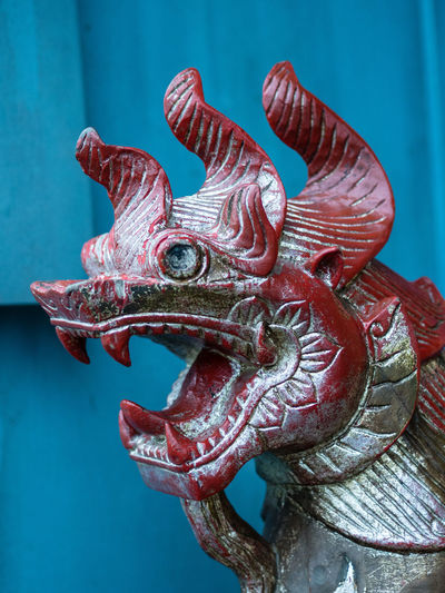 Close-Up Of Red Dragon Statue