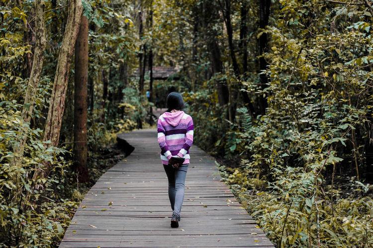 Rear view of woman walking on boardwalk amidst trees in forest