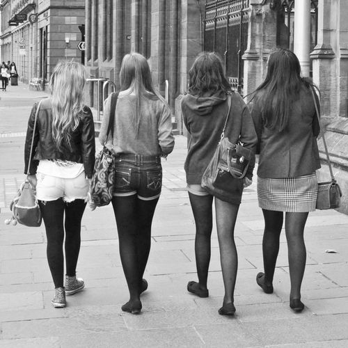 Back Blackandwhite City Life Friendship Haircolor Lifestyles Scottish Streetphotography Togetherness Walking Young Adult Young Women