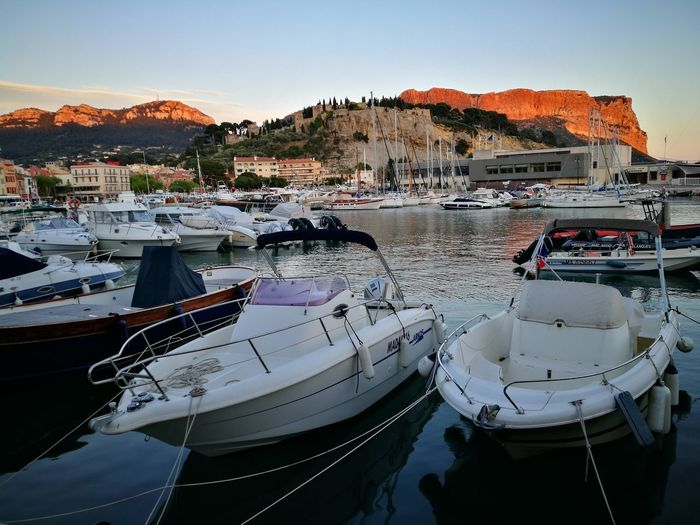 Nautical Vessel Moored Water Sea Harbor No People Cassis Provence sunset red EyeEmNewHere Neighborhood Map Live For The Story