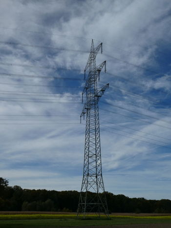 Cable Technology Electricity  Cloud - Sky Electricity Pylon Rural Scene Sky Field No People Grass Fuel And Power Generation Landscape Steel Agriculture Silhouette Outdoors Tree Stromleitung Landschaft Südpfalz