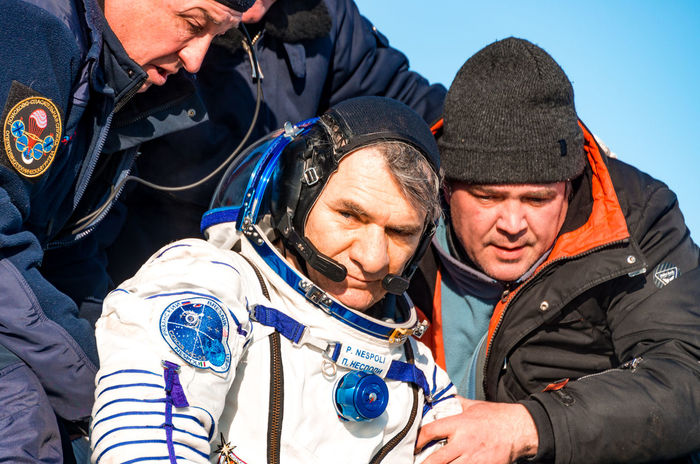 Paolo Nespoli, astronaut Astronaut Rescue Astronauts  Cominghome Comeback Souzms05 Souz Ms 05 Space Space Craft Spacecraft Souz Winter Togetherness Men People Happiness