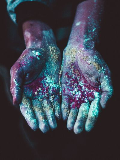 One Person Human Hand Close-up Human Body Part Human Finger Celebration Real People Focus On Foreground Studio Shot Black Background Indoors  Powder Paint Holi Day People Color Colorful color palette Color Explosion Colors of Carnival Color Photography Color Of Life Color Splash Colorfull Hands