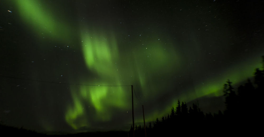 Low angle view of aurora borealis