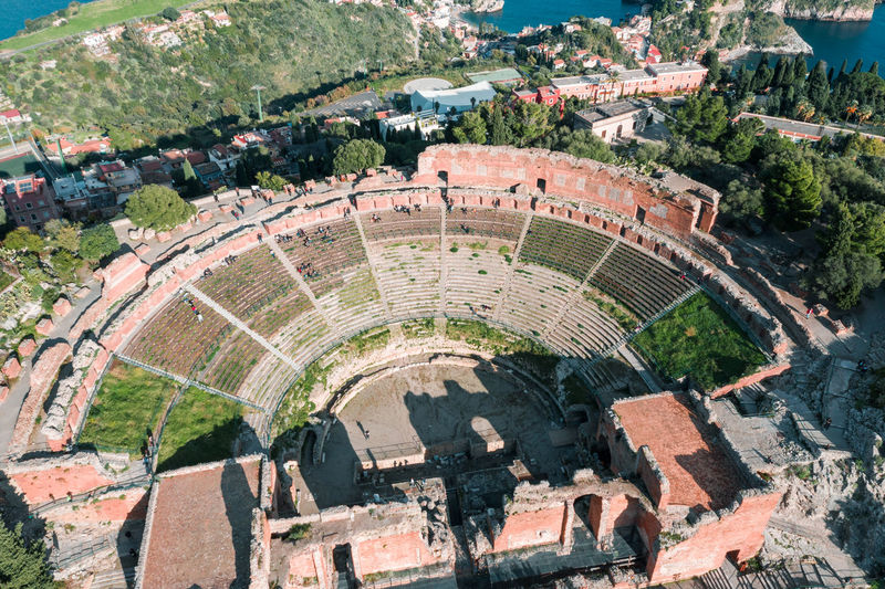 Aerial view of teatro greco in city