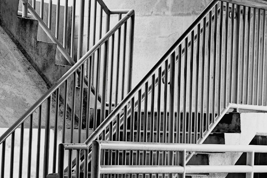 Steps And Staircases Railing Staircase Steps Built Structure Metal Stairs Day No People Hand Rail Black And White Photography