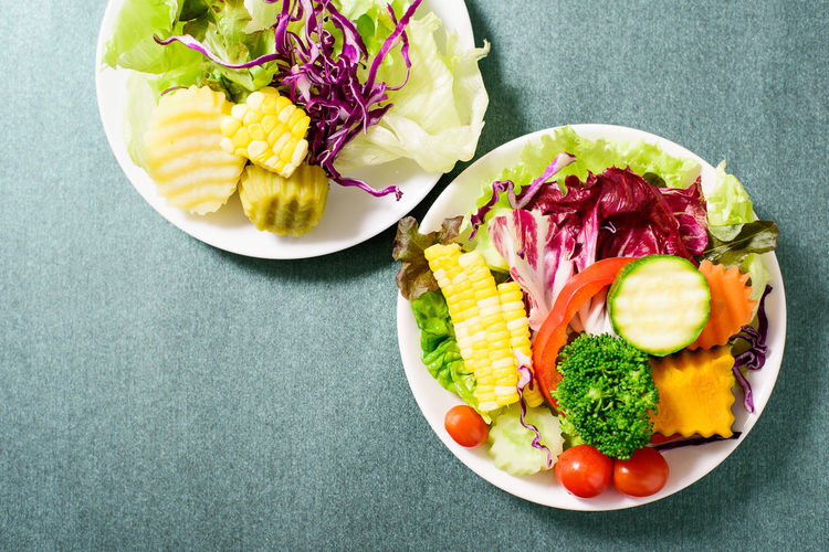 Vegetables salad Diet Eating Homemade Food Salad Vegetarian Food Chopped Directly Above Food Food And Drink Freshness Fruit Healthy Eating High Angle View Lettuce Meal Plate Ready-to-eat Still Life Sweetcorn Vegetable Vegetable Salad