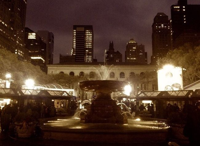 Walking Around NYC Photography NYC POV Viewfrommyiphoneornikon NYC Parks Photography Bryant Park  Manhattan Water Fountain The City Light