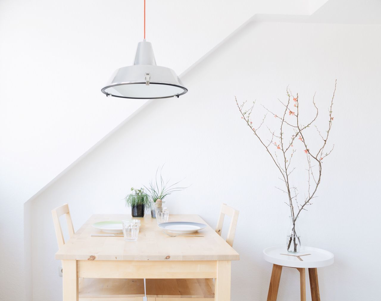 Table against wall at home