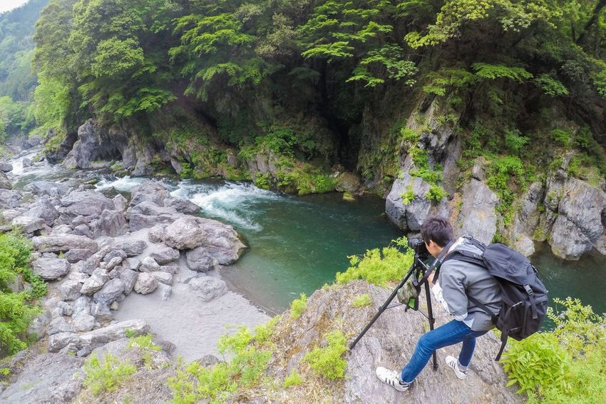 Rock - Object Hiking Beauty In Nature Nature River Real People Outdoors Scenics One Person Backpack Day Water Casual Clothing Tranquil Scene Tree Forest Leisure Activity Motion Adventure Lifestyles Gopro Nature Photography Canon7d  OpenEdit Tokyo,Japan