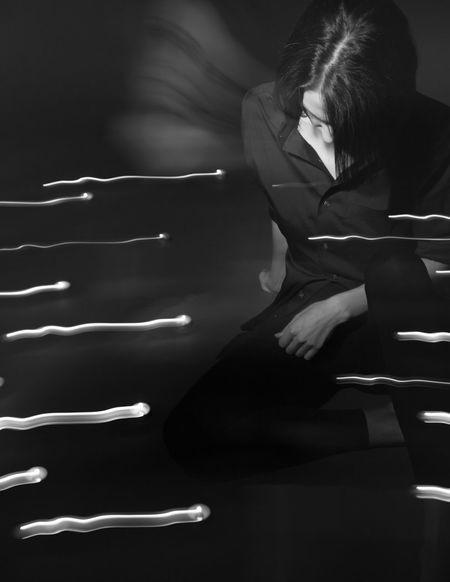 Glitch Blackandwhite Studio Motion Blur Tea Lights Girl