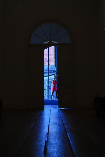 Empty interior with open door