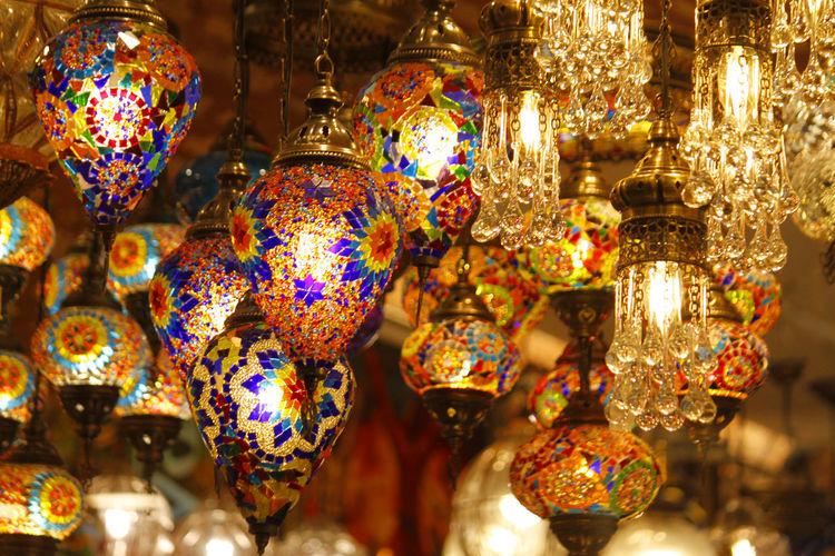 Illuminated lighting equipment at market stall