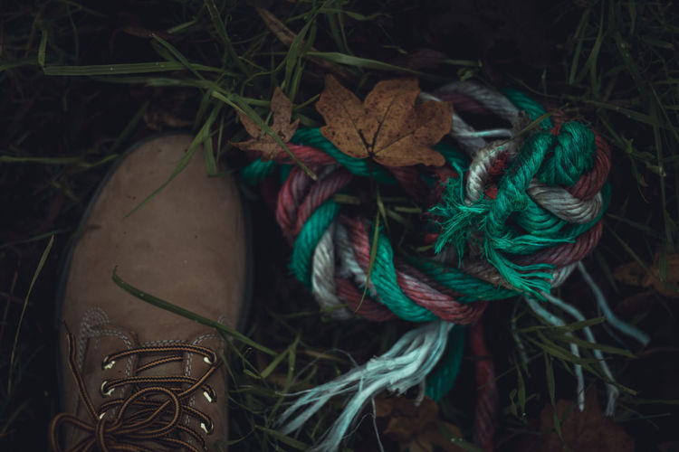Close-Up Of Shoe And Rope