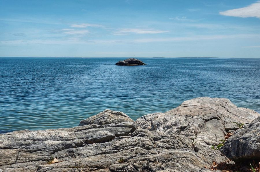 Island in the sea. Sea Horizon Over Water Outdoors Water Day Sky Nature Travel Destinations Tranquility Cloud - Sky Beauty In Nature Blue Beach Niantic Connecticut Rocky Shore Island Isolated Blue Water Ripples Sommergefühle Breathing Space