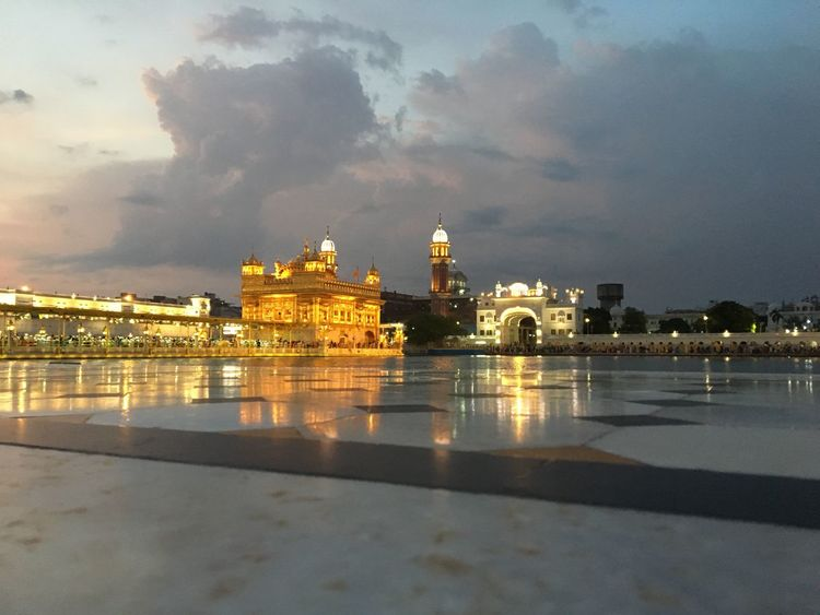 Waheguruji Goldentempleamritsar Built Structure Architecture City Water Sky Building Exterior Reflection
