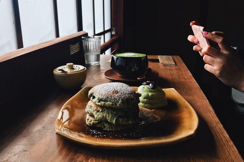 Fuyu Yuki Winter Matcha Pancake Chaya Kanazawa Food And Drink Food Freshness Indoors  Human Hand Table Hand