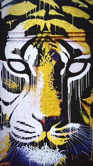 Bestoftheday Remo Amalan Photography Remoamalanphotography EyeEm Best Shots EyeEm No People Art, Drawing, Creativity ArtWork Painting Wall Colors Yellow White Blue Portrait Animals In The Wild Tiger Animal Themes Worthit Picoftheday IPhone Click Love