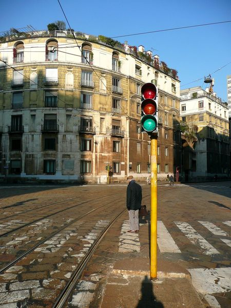 Architecture Building Exterior Built Structure City Crosswalk Day Mailand Milano Milano Italy Old Buildings Outdoors Pedestrian Crossing Protection Red Light Road Sign Road Signal Run Safety Sky Stoplight Street Transportation Zebra Crossing Zebra Stripes Zebrastreifen