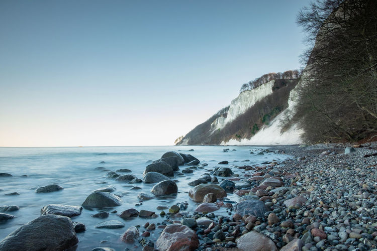 Baltic sea coast at jasmud park. cold autumn morning at sassnitz, germany. white chalk soil erosion.