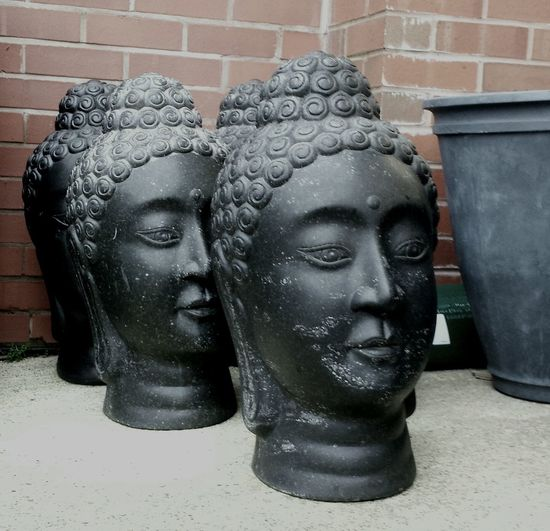 Buddha Heads Scratched Statues Buddhas For Sale Garden Centre Garden Ornaments Garden Furniture Serene Faces Trendy Buddhas Factory Sculptures England, UK Fashionable Buddhas