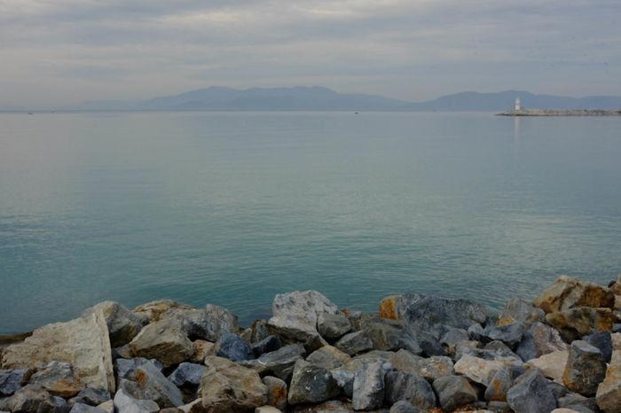 Silent Aegean Sea Blue Sea Calm Green Horizon Over Water Lighthouse Sea Turkey Kusadasi