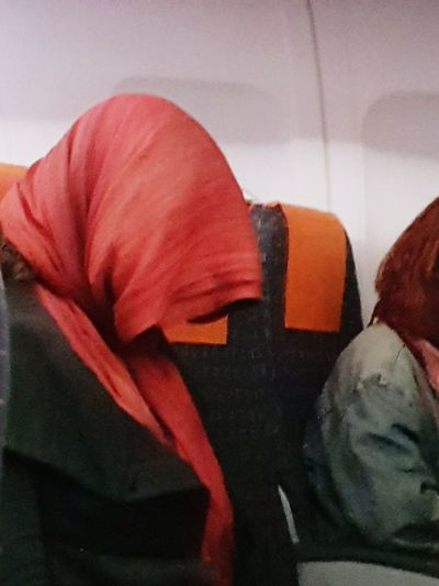 fright flight '' Weird Scary Scarf Sleepyhead Travel Airplane Are We There Yet?  The Creative - 2018 EyeEm Awards Red Warm Clothing Close-up