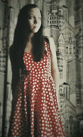 Beauty City Confidence  Long Hair Polka Dots  Red Retro Selective Color Young Women