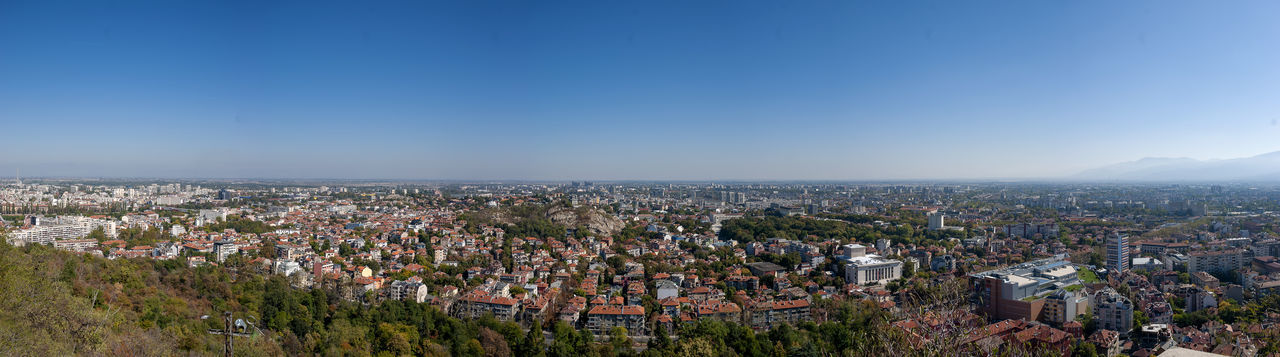A panoramic view of the city of plovdiv, bulgaria