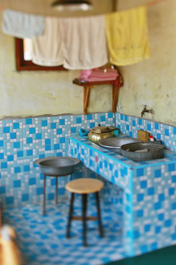 vintage home 70s Asian  Blue Colorful Day Home Indoors  Interior No People Tiles Traditional Vintage Washing Area