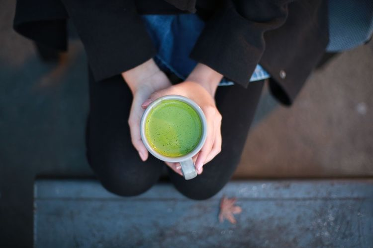 Matcha latte in winter mood Green Tea ❤️ Green Tea Latte Winter Winter Mood Matcha Latte Matcha Hand Holding Human Body Part Lifestyles High Angle View