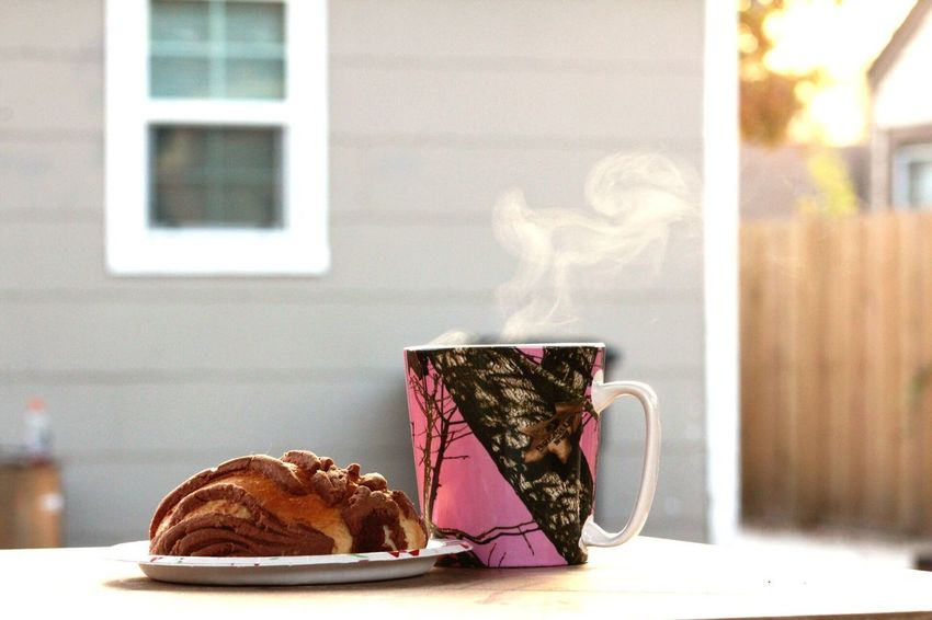 A piece of Méxican sweet bread and a warm cup of coffee! Pan Dulce Winter Time Cold Weather Coffee Coffee Break Smoke - Physical Structure Indoors  Table No People Day Close-up Animal Themes Food Stories
