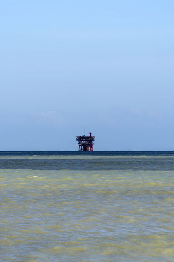 offshore platform Offshore Platform Offshore Drilling Rig Gas Fuel And Power Generation Power Supply Pipeline Environment Pollution Polluted Water Winter Adriatic Sea Architecture Structure Engineering Distant Seascape Beach Italy