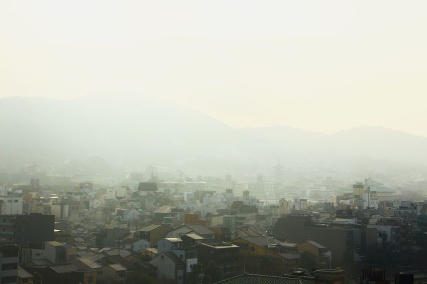Foggy afternoon on Kyoto Kyoto Japan Japan Photography Travel Destinations Evening Fog Mountain Range Mountain Japan Architecture House City Cityscape Urban Skyline Skyscraper Modern Fog Winter Aerial View Downtown District City Life Overcast Storm Cloud Atmospheric Mood Dramatic Sky Air Pollution Foggy Weather Moody Sky Cloudscape