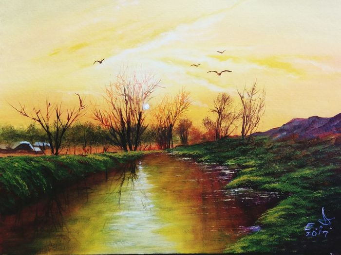 "Sunrise at the vilage , oil on canvas 16""_20"" Tranquility Sky Reflection Scenics Water Tree Beauty In Nature Water Pond Sunrise Original Art Oil Painting ArtWork My Art Collection Fine Art Art, Drawing, Creativity My Landscape Collection. Drawing My Best Friends ❤ Fredom Friendship. ♡   Love♥ Koi. With"