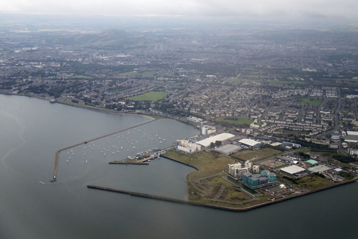 Edinburgh Granton Harbour Harbour Aerial View Architecture Building Building Exterior Built Structure City Cityscape Day High Angle View Nature No People Outdoors River Sky Transportation Travel Travel Destinations Water