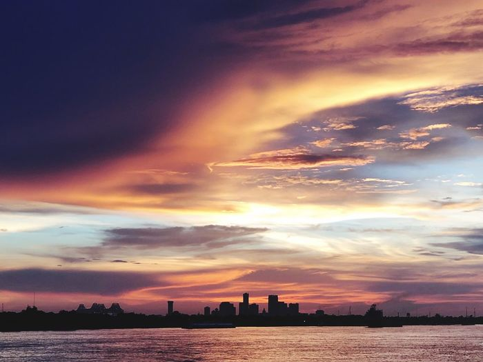 New Orleans skyline sunset Colorful Sunset Choppy Waters Sky Water Cloud - Sky Architecture Sunset Sea City Dramatic Sky Outdoors Urban Skyline Scenics - Nature No People Beauty In Nature My Best Photo