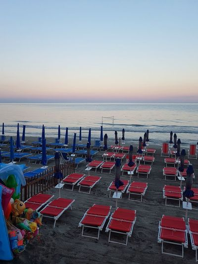 Beach Sea Sand Beach Umbrella Horizon Over Water Outdoor Chair Chair Canopy Summer Water Vacations Arrangement Tranquility Group Of Objects Relaxation Outdoors Nature Large Group Of Objects Weekend Activities Day Beach Toys Liguria, Italy Vacations Travel Destinations Tranquility
