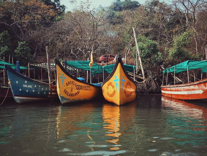 Boats Transportation Nautical Vessel Water Waterfront Mode Of Transport Boat Tree River Tranquility Tranquil Scene Nature Ferry Scenics Day Calm Journey No People Tourism Arrangement Multi Colored
