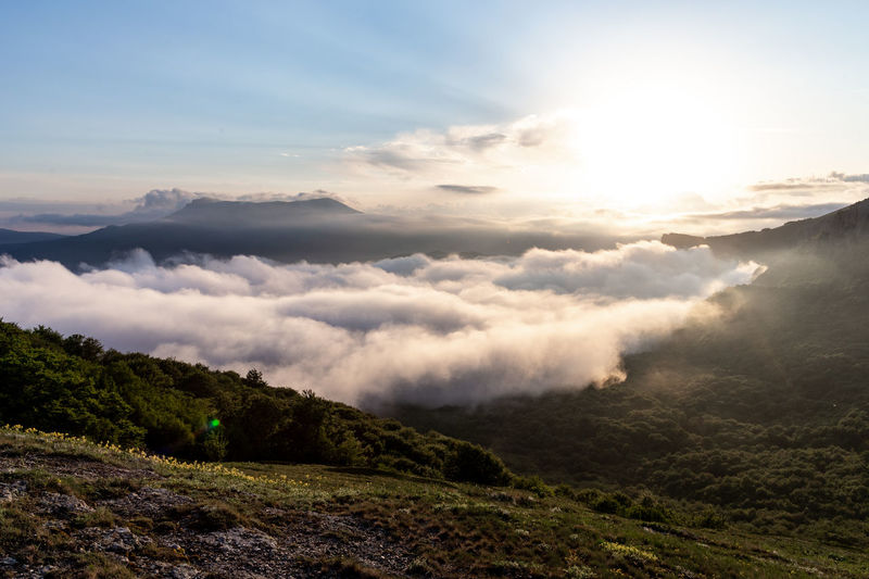 Sky Scenics - Nature Beauty In Nature Cloud - Sky Tranquility Mountain Tranquil Scene Landscape Environment Non-urban Scene Nature Idyllic No People Mountain Range Land Day Outdoors Remote Sunlight