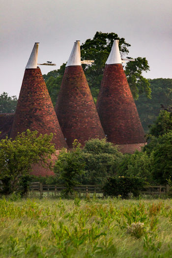 Oast House, Garden Of England, Kent, England Travel Destinations Tourism Hops Beer Brewing Drying Process Countryside Village Getty Images EyeEm Farm Vivid International Rural Scene Tranquil Scene Architecture Plant Tree No People Nature Day Sky Outdoors Cone Land Growth Field Grass Hanging Building Exterior Built Structure Beauty In Nature Green Color Environment