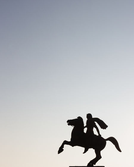 EyeEm Best Shots EyeEm Selects EyeEmNewHere Macedonia Alexanderthegreat Clear Sky Copy Space Day Greece History Horse Leisure Activity Lifestyles Low Angle View Mammal Men Motion Nature Outdoors People Representation Silhouette Sky Sunset Two People