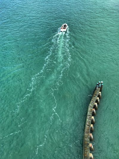View from fort pierce seaway drive bridge High Angle View Day Water Nature Outdoors Beauty In Nature Sea Wake - Water Real People Men One Person People In Fort Pierce Florida 🇺🇸 The Great Outdoors - 2017 EyeEm Awards
