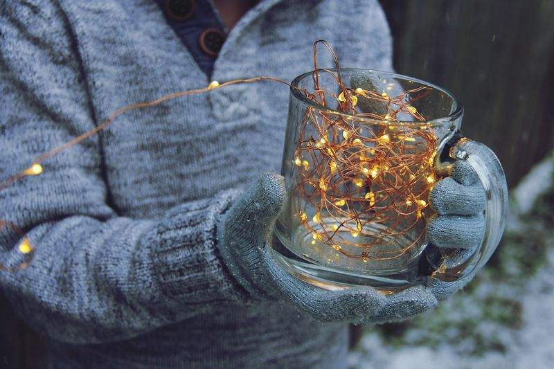 Winter Tea Cold Fairy Lights Snow Winter Coffee Cup Coffee Tea Lights Close-up Drinking Glass Indoors  Drink Illuminated Day