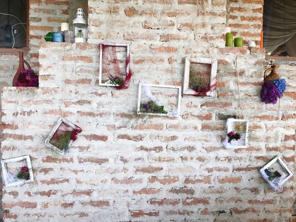 Decoration Decor Wall Brick Brick Wall Frames Picture Frame Fabric Flowers