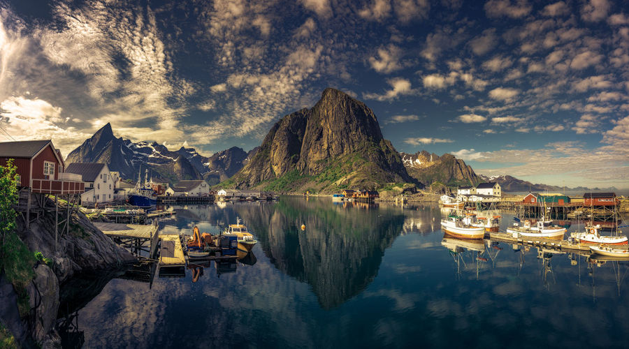 Lofoten Norway Lofoten Islands Panorama Reflection Reine Beauty Beauty In Nature Beauty In Nature Cloud - Sky Fjord Lofoten Mountain Nature Outdoors Sea Torsk Travel Destinations Water The Week On EyeEm