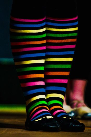 Colorful Leggings Multi Colored One Person Human Leg Human Body Part Body Part Low Section Striped Sock Pattern Standing Indoors  Real People Close-up Fashion Shoe Women Textile Lifestyles Adult Human Foot