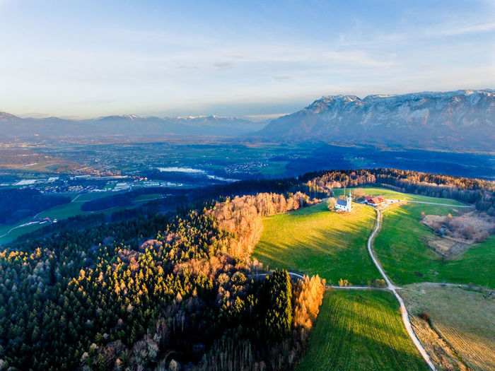 High angle view of idyllic rural landscape from germany