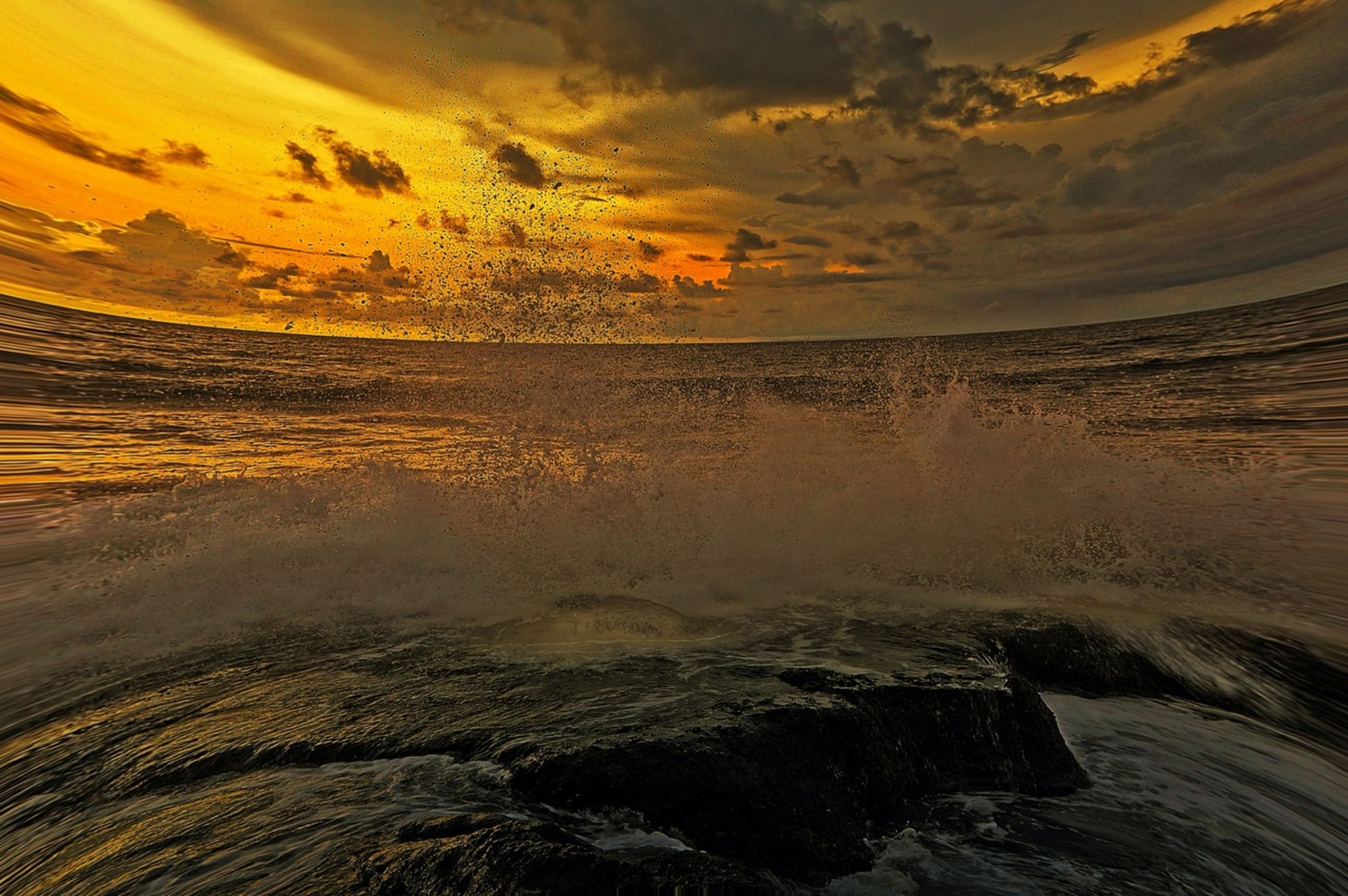 water, sunset, sea, scenics, beauty in nature, tranquil scene, tranquility, sky, nature, horizon over water, idyllic, wave, waterfront, reflection, beach, cloud - sky, rippled, shore, orange color, seascape